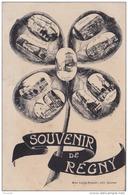 F14- 89) RÉGNY - SOUVENIR - (FLEUR PENSÉE  MULTIVUES - 2 SCANS) - Andere Gemeenten