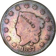 Monnaie, États-Unis, Coronet Cent, Cent, 1827, U.S. Mint, Philadelphie, TB - 1816-1839: Coronet Head (Testa Coronata
