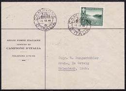 Campione, Cover Franked 25 Cent (printing Matter?), 1944, Creased - 4. 1944-45 Sozialrepublik
