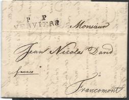L 1819 Datée D'Aix La Chapelle Marque P  P/VERVIERS (96 Gratté) Pour Francomont - 1815-1830 (Holländische Periode)