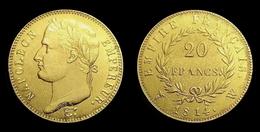 COPIE - 1 Pièce Plaquée OR ( GOLD Plated Coin ) - France - 20 Francs Napoléon Tête Laurée 1814 W - L. 20 Franchi