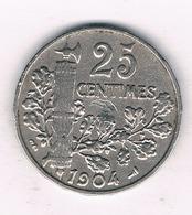 25 CENTIMES 1904 FRANKRIJK /300/ - F. 25 Centimes