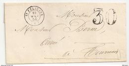 Feuillet Faisant Enveloppe Taxée, Expédition Saint Félicien Vers Tournon Sur Rhône, 1856 - Poststempel (Briefe)