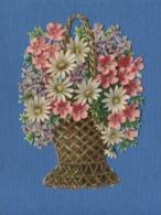 Superbe Chromo Decoupis Grand Format Bouquet Fleurs Corbeille Osier Dont Violettes Marguerites - Fleurs