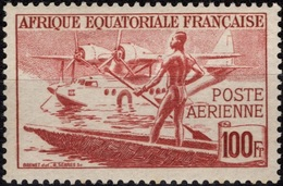 AEF Afrique Equatoriale Française  Poste Aérienne 42 ** MNH Pirogue Et Hydravion Bimoteur - A.E.F. (1936-1958)
