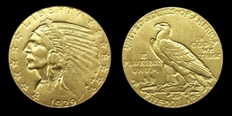COPIE - 1 Pièce Plaquée OR ( GOLD Plated Coin ) - Etats-Unis USA - 5 Dollars Indian Head Half Eagle 1929 - 5$ - Half Eagles - 1908-1929: Indian Head