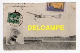 DD / AVIATION / L' AVIATEUR MOULIEN SUR MONOPLAN BLÉRIOT + VIGNETTE DU MEETING DE DIJON EN 1910 - Aviateurs