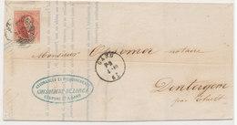 1861 BRIEF MET OCB 12?  VAN GAND NAAR DENTERGEM - AANKOMSTSTEMPEL THIELT  ZIE SCAN(S) VL - 1858-1862 Medaillen (9/12)