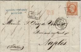 14863- Lettre De Bordeaux Pour Naples  Cad T15 Affr. N°23 SEUL Oblit.. G C 532 - Postmark Collection (Covers)