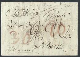 L 1805 96/VERVIERS + Diverses Bonifications Pour La Suisse + Au Dos Griffe AIX LA CHAPELLE En Rouge RR - 1794-1814 (Période Française)