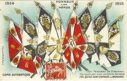 Cpa Honneur à Nos Héros , Faisceau De Drapeaux Conquis , Voyagée 1915 Compagnie Cyclistel - Guerre 1914-18