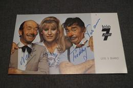 Cirque,photo Avec Autographe,Clowns,les 3 Bario,collection,15,5 Cm. Sur 9 Cm. - Autographes