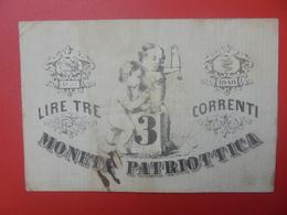 ITALIE 3 LIRE 1848 CIRCULER (B.10) - [ 4] Emissions Provisionelles