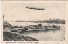 Allemagne : Rhénanie Palatinat : GERMERSHIEM : Rheinfahre Mit Brucke Und Zeppelin ( Dirigeable - Aviation ) - Germersheim