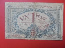 MONACO 1 FRANC 1920 CIRCULER (B.10) - Mónaco