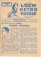 Loew Metro Presse - Ciné  Bioscoop Programma Programme Cinema Majestic  Gent - 7 Dec 1928 - Ramon Novarro - Programma's