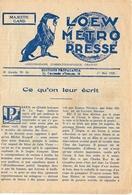 Loew Metro Presse - Ciné  Bioscoop Programma Programme Cinema Majestic  Gent - 17 Mai 1929 - La Vendeuse Des Galeries - Programma's