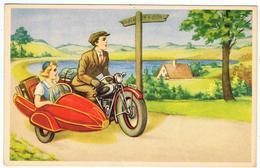 Carte Années 50 / Moto, Side-car, Bord De Mer ... - Cartes Postales