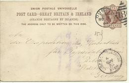 1885 One Penny Post Card Sent From Dublin To Biberach, Austria - Entiers Postaux