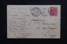 FRANCE / GB - Oblitération Maritime De Granville En Plein Sur Timbre Anglais En 1905 - L 50645 - Storia Postale