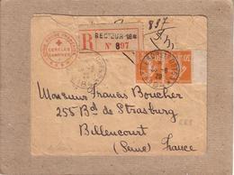 """LETTRE HAUTE SILESIE POUR BILLANCOURT , CAD """" TRESOR ET POSTES 184 """" PAIRE BORD DE FEUILLE RECOMMANDE CROIX ROUGE - 1920 - Postmark Collection (Covers)"""