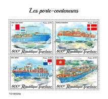 Togo. 2019 Container Ships. (0529a)  OFFICIAL ISSUE - Bateaux