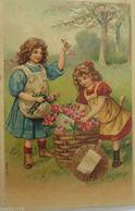 """""""Kinder, Korb, Rosen, Brief"""" 1905, Prägekarte ♥   - Kinder"""
