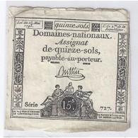 ASSIGNAT DE 15 SOLS - SERIE 727 - 23/05/1793 - TTB - Assignats & Mandats Territoriaux