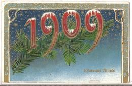 P 389 , OLD FANTASY POSTCARD , GREETINGS , 1909 - Felicitaciones (Fiestas)