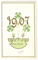 P 394 , OLD FANTASY POSTCARD , GREETINGS , PENSEE , 1907 - Felicitaciones (Fiestas)
