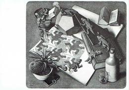 Carte Double Maurits Cornelis ESCHER : Reptiles - 17 X 12 Cm - Peintures & Tableaux