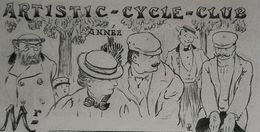 ARTISTIC CYCLE CLUB CARTE MEMBRE EAU FORTE 1900 CREE PAR BAUER FILS DUMAS MIRBEAU CLEMENCEAU STERN OLD CARD VELOCYCLING - Reclame