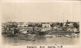 INDIA // INDE. RANGOON RIVER HLAINA 1927 REAL PHOTO - Inde