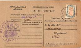 Carte De Ravitaillement, Mairie De BRANOUX (Gard) - Cachet à Date De Bureau De Distribution Du ? 1946 - Marcophilie (Lettres)