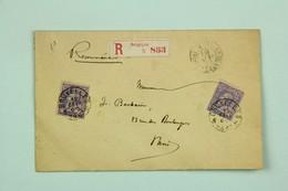 Lettre Recommandée 1887 Bruxelles --> Paris, Affr. 50c - 1884-1891 Leopoldo II