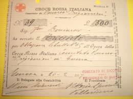 RICEVUTA CROCE ROSSA ITALIANA  1917 - Red Cross