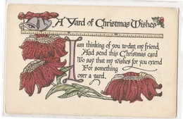 P 418, OLD FANTASY POSTCARD , GREETINGS , PENSEE ,  A YARD OF CHRISTMAS WISHES - Other