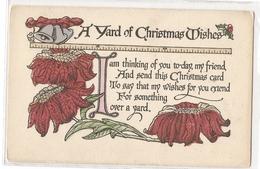P 418, OLD FANTASY POSTCARD , GREETINGS , PENSEE ,  A YARD OF CHRISTMAS WISHES - Felicitaciones (Fiestas)