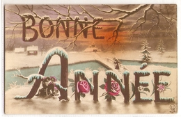 P 419, OLD FANTASY POSTCARD , GREETINGS , PENSEE ,  BONNE ANNEE - Other