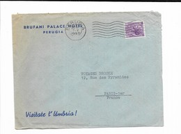 1955 ITALIE BRUFANI PALACE HOTEL PERUGIA - Marcophilie - EMA (Empreintes Machines)