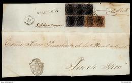 PUERTO RICO. C 1855. EMISION DE CORREO OFICIAL. Plica De San Germán A San Juan Con Pareja De Una Onza Y Dos Parejas De U - Porto Rico