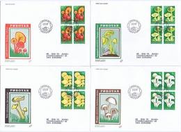 Faroe Islands; 1997 Mushrooms.  Set Of 4 In Block Of 4 On FDC (Populær Filateli). - Champignons