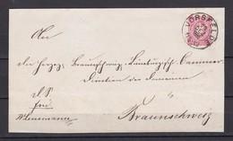 Deutsches Reich - 1885 - Michel Nr. 44 - Briefst. - Schwarzer Zweikreisstempel VORSFELDE - Nach Braunschweig - Allemagne