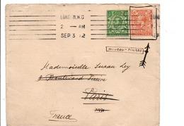 GB AFFRANCHISSEMENT COMPOSE SUR LETTRE DE LONDRES POUR LA FRANCE 1912 - 1902-1951 (Rois)