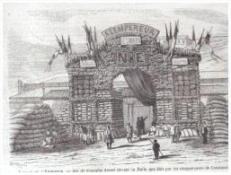 GRAVURE D Epoque    1865. ARC DE TRIOMPHE   HALLE AU BLES CONSTANTINE ALGERIE - Alte Papiere