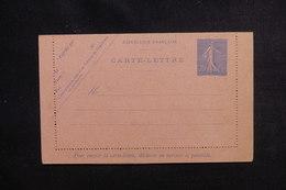 FRANCE - Entier Postal Type Semeuse 25c Bleu ( Carte Lettre ) Non Circulé - L 50687 - Entiers Postaux