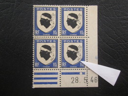 Type Ecusson N° 755 COIN DATE TTB Avec Petit Decalage Du Cadre - 1940-1949