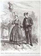 GRAVURE D Epoque    1865 Coutume Normandie   La Mariée Et La  Remise De La Quenouille   Basse Normandie - Alte Papiere