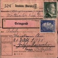 ! 1943 Paketkarte Deutsches Reich, Sennheim, Oberelsass, Alsace, Nach Gräfenhainichen, R.A.D. Lager, Reichsarbeitsdienst - Allemagne