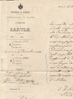 Sarule. 1898. Nota Informativa Dal Sindaco Di SARULE Al Pretore Di ORANI. - Documenti Storici